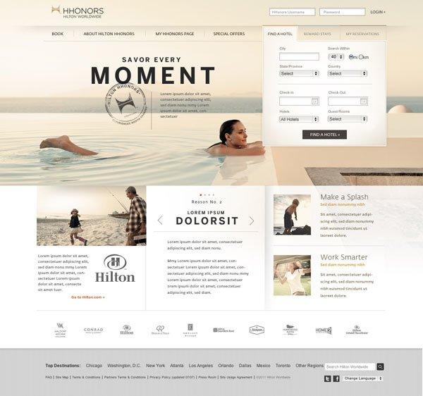 典雅精美的酒店网站设计-希尔顿酒店