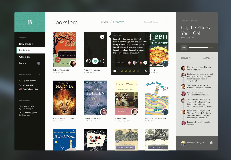 的在线书店网站,配色,排版都很棒.图片