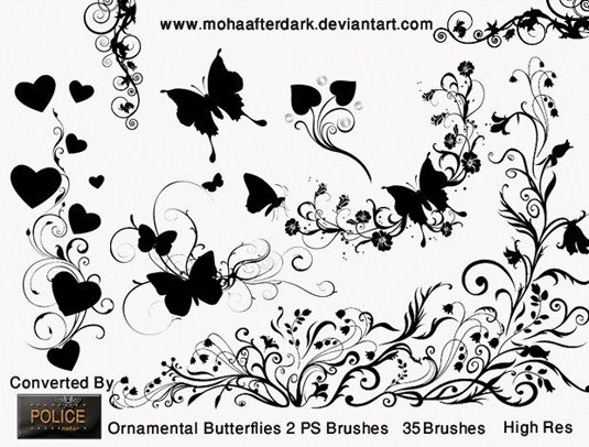 以蝴蝶和植物为主的一些装饰花纹笔刷,可以用来装饰画面的边角.