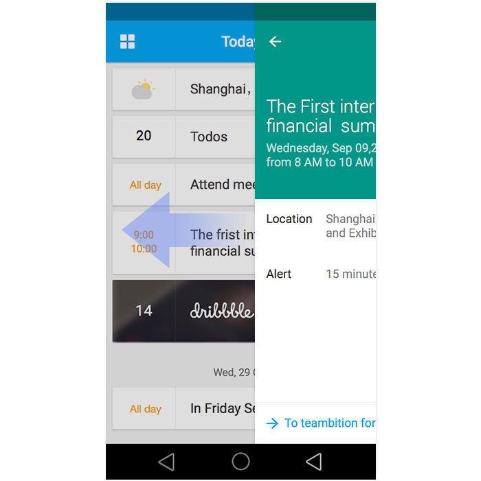 迎接新抽屉导航的到来 是的,就像抽屉导航那样,最早被零散使用的交互要素,进入Android的设计规范后,会在接下来的时间中被广泛使用,乃至扩散到iOS和桌面端。这次同样最具代表性和潜力的两个元素,应该是炙手可热的浮动按钮(FAB,Floating Action Button)和卡片。 浮动按钮 目前 Google 伴随 Lolipop 发布的全线产品都带上了全局浮动的按钮,视觉配色上高调突出,图案简明,主要作用是给最重要的动作加上醒目的入口(比如Google Calendar中添加日程,Gmail中