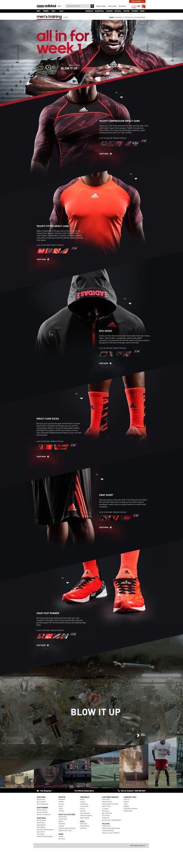 Unique Web Design, Adidas via @Kin Nirov