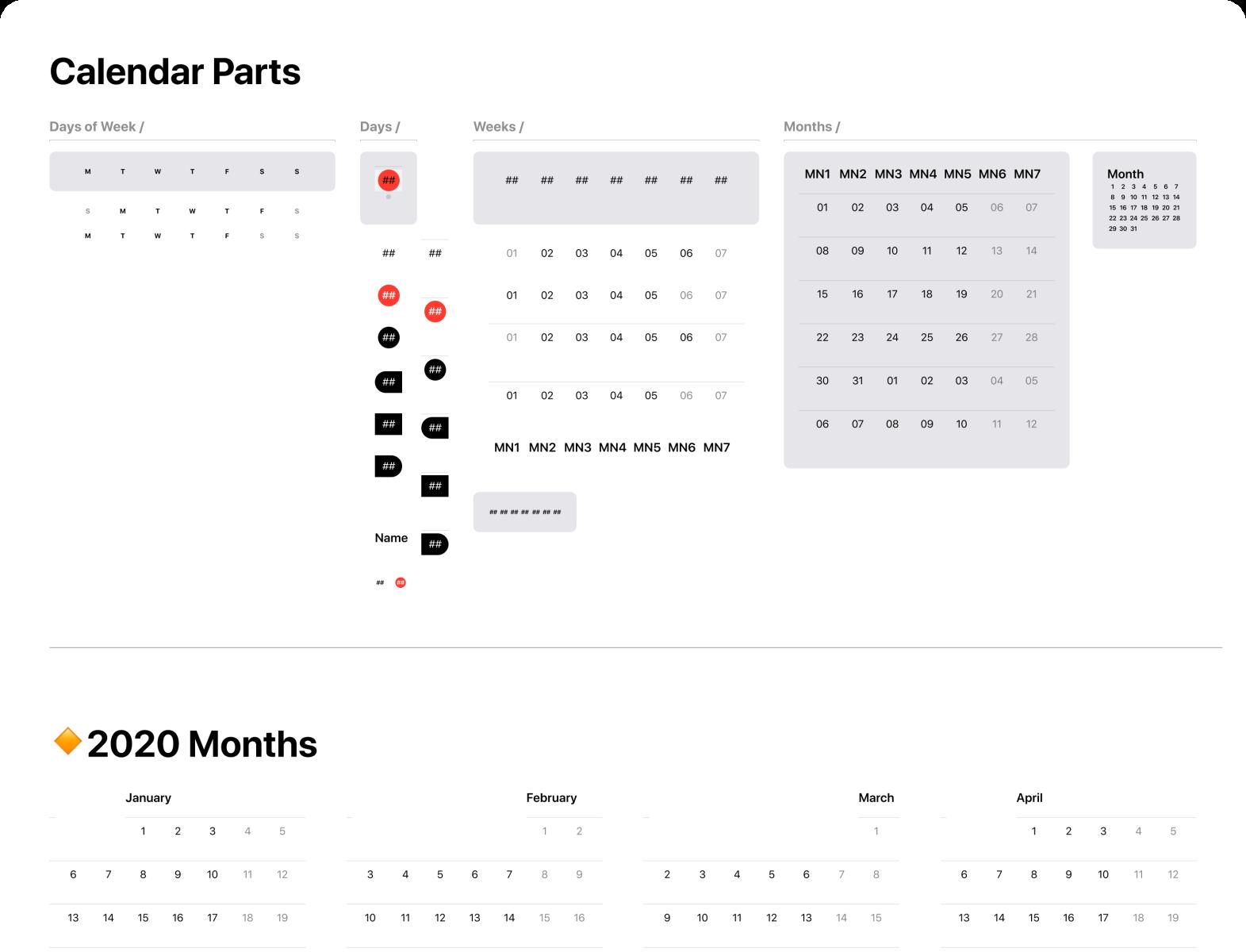 Figma iOS design library - Datepicker & Calendar Templates