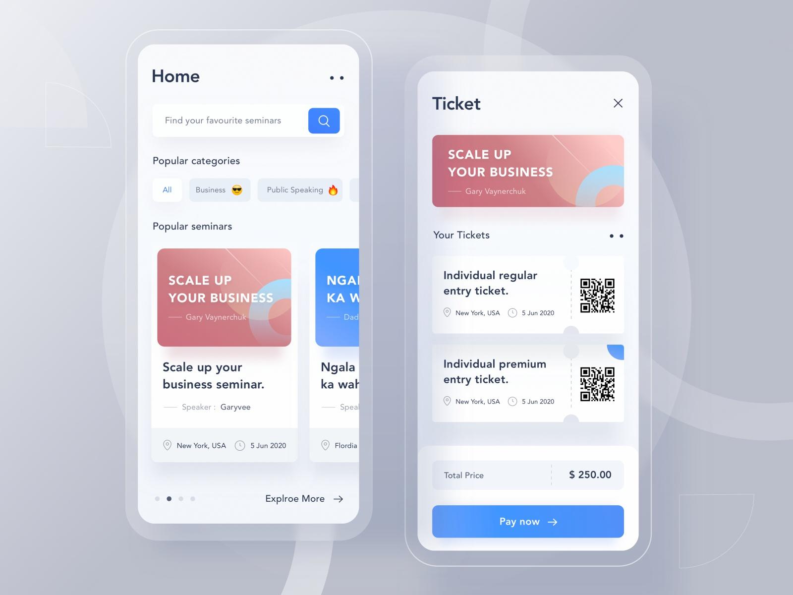 Seminar app mobile design