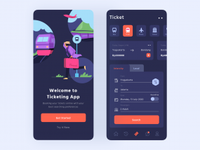 Ticketing App UI Dark