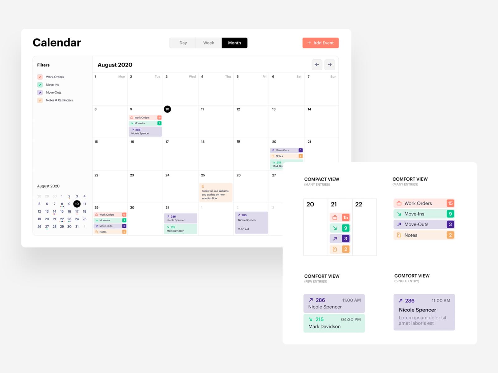 Responsive calendar UI - events categories