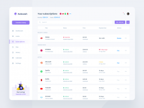 Banking Dashboard concept - Manage Subscription