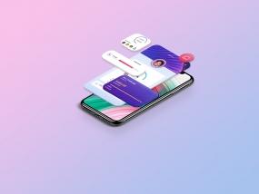 UI App Isometric Mockup